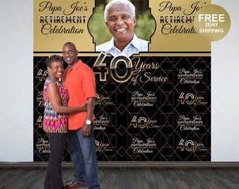 Retirement Party Personalized Backdrop | Years of Service Step & Repeat Photo Backdrop | Birthday Photo Backdrop | Retirement Backdrop