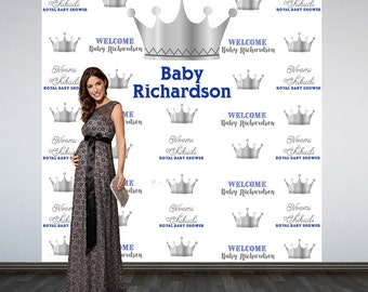 Royal Baby Shower Photo Backdrop - Silver and Blue Prince Step and Repeat Photo Backdrop-Photo Booth Personalized Backdrop