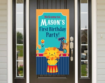 Animal Circus Birthday Door Banner  ~ First BirthdayPersonalize Welcome to the Party Banner Vertical Banner - Carnival Birthday Banner