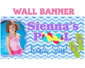 Birthday Splash Photo Banner ~ Personalized Party Banner - Pool Party Banner ~ Swimming Party Banner, Summer Birthday Banner, Custom Banner