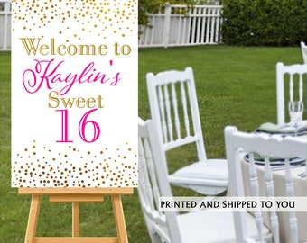 16th Birthday Welcome Sign - Birthday Sparkle Sign - Sweet 16 Welcom Sign, Foam Board Welcome Sign, 50th Birthday  Printed Welcome Sign