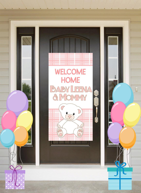 welcome home baby door banner personalized baby bear girl party banner its a girl welcome banner welcome home baby banner printed