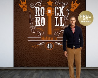 Rock and Roll Party Personalized Photo Backdrop - Photo Backdrop- Birthday Backdrop - Rock On Backdrop - Rock and Roll Backdrop