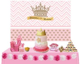 Litte Princess Personalized Backdrop - Birthday Cake Table Backdrop - Photo Backdrop, Royal First Birthday, Birthday Backdrop, Printed