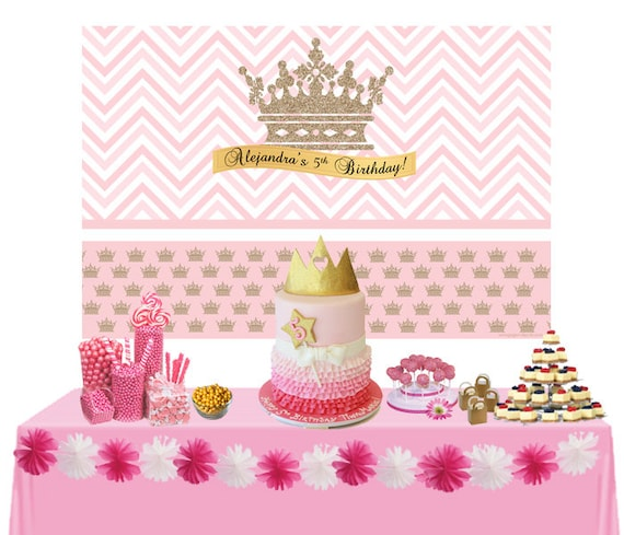 Admirable Litte Princess Personalized Backdrop Birthday Cake Table Etsy Funny Birthday Cards Online Overcheapnameinfo