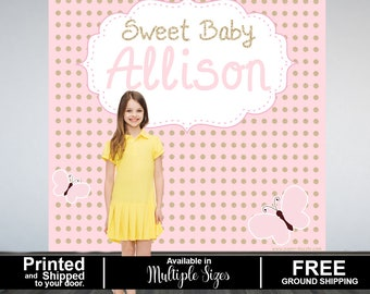 Butterfly Personalized Photo Backdrop, Baby Shower Party Backdrop, Sweet 16th Photo Backdrop, 1st Birthday Vinyl Backdrop, Printed Backdrop
