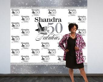 Fabulous 50 Personalized Photo Backdrop -Silver Photo Backdrop- 50th Birthday Photo Backdrop - Printed Photo Booth Backdrop, Heels Backdrop