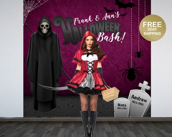 Halloween Bash Party Photo Backdrop - Halloween Photo Backdrop- Grim Reaper Party Photo Backdrop, Scary Holiday Printed Party Backdrop