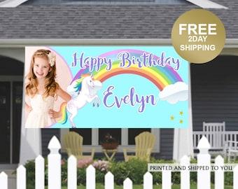 Rainbow Unicorn Banner ~ Birthday Banner - Photo Birthday Banner, Unicorn Birthday Banner, Birthday Yard Banner | Birthday Yard Sign