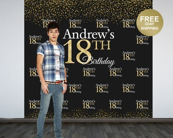 18th Birthday Backdrop | Personalized Birthday Party Photo Backdrop | Custom Photo Backdrop | 16th Birthday Backdrop | Birthday Backdrop