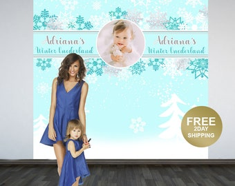 Winter Wonderland Personalized Photo Backdrop | Snow Flakes Party Photo Backdrop | Baby it's Cold Outside Photo Backdrop | Birthday Backdrop