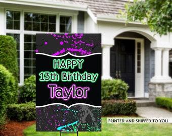 Neon Birthday Yard Sign   Quarantine Birthday   Birthday Yard Sign   Navy Floral Sign   13th Birthday Yard Sign   Happy Birthday Lawn Sign