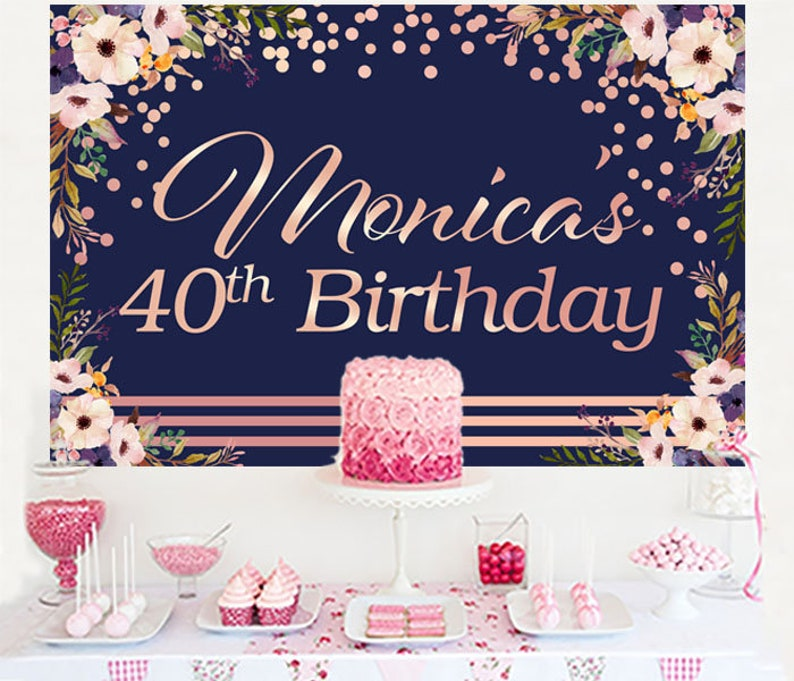 Pink Floral Personalized Backdrop Birthday Cake Table