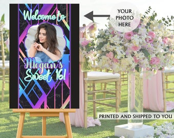Cool 90's Sweet 16 Photo Welcome Sign - Welcome to the Party Sign, 16th Birthday Welcome Sign, Foam Board Welcome Sign, Printed Welcome Sign