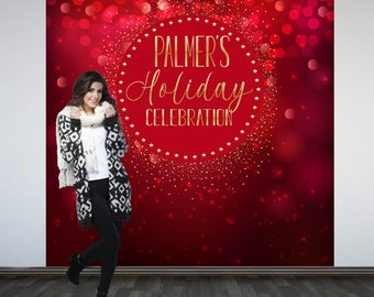 Red Sparkle Holiday Party Photo Backdrop - Christmas Photo Backdrop- Holiday Party Photo Backdrop, Holiday Printed Party Backdrop, Printed