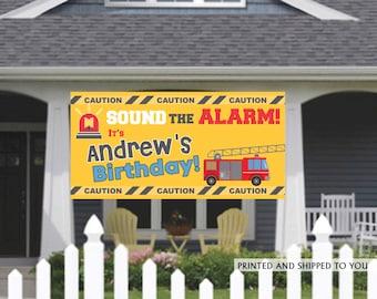 Birthday Banner | Personalized Birthday Banner | Fire Truck Banner | Custom Banner | HONK Birthday Banner |  Quarantine Birthday Banner