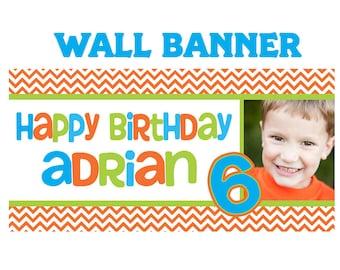 Kids Aged Birthday Photo Banner ~ Chevron Personalized Photo Party Banners, 13th Birthday Banner, Custom Banner, Printed Vinyl Banner
