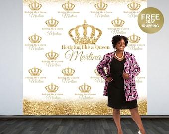 Retirement Personalized Photo Backdrop | Golden Photo Backdrop | Birthday Queen Photo Backdrop, Printed Photo Backdrop | Birhday Backdrop
