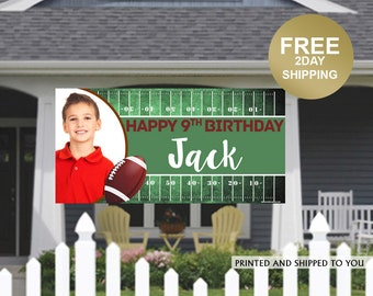 Football Birthday Party Banner ~ Personalized Party Banners - Sports Photo Banner, Birthday Banner   Birthday Yard Sign   Lawn Banner