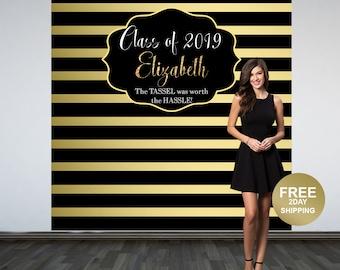 Graduation Photo Backdrop, Personalized Photo Backdrop- Printed Class of 2019 Photo Backdrop- Black and Gold Stripes Photo Backdrop