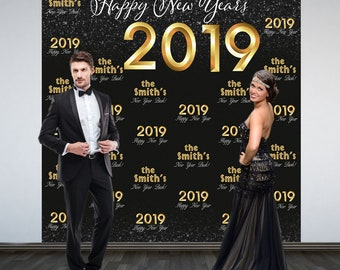 Happy New Year Personalize Photo Backdrop -2019 Celebration Photo Backdrop- Party Photo Backdrop, Holiday Party Backdrop, Printed Backdrop