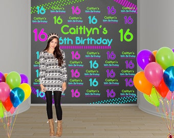 Neon Party Personalized Photo Backdrop -Sweet 16 Party Photo Backdrop- Custom Party Photo Backdrop, 16th Birthday Backdrop, Printed Backdrop