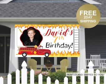 Birthday Banner | Personalized Birthday Banner | Fire Truck Banner | Fireman Banner | Lawn Birthday Banner |  Quarantine Birthday Banner