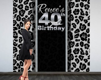 40th Birthday Personalized Photo Backdrop -Silver Cheetah Photo Booth Backdrop- Milestone Birthday- Diamond Party Backdrop, Printed Backdrop