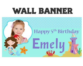 Under the Sea Mermaid Party Banner ~ Personalized Party Banners, Little Mermaid Banner, Vinyl Printed Banner, Custom Banner, Mermaid Banner