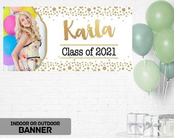 Graduation Class of 2021 Photo Banner ~ Congrats Grad Personalize Party Banners -Photo Grad Vinyl Banner, Printed Graduation Vinyl Banner