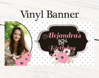 Birthday Chic Banner  ~ 18th Birthday Personalized Party Banners- Large Photo Banner, Custom Birthday Banner, Personalized Party Banner
