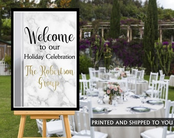 Holiday Welcome Sign, Corporate Event Sign, Birthday Welcome Sign, Foam Board Welcome Sign, Printed Event Welcome Sign - Canvas