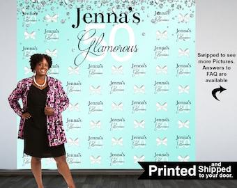 Glamorous 50 Personalized Photo Backdrop -Diamonds and Bows Photo Backdrop- 50th Birthday Photo Backdrop - Printed Photo Booth Backdrop