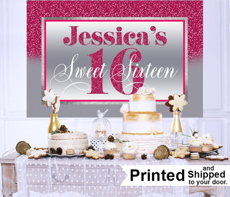Sweet Sixteen Birthday Personalized Backdrop, 16th Birthday Cake Table  Backdrop, Pink & Silver Birthday Backdrop, Birthday Backdrop, Printed