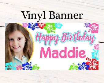 Luau Party Banner ~ Personalized Party Banners - Summer Fun Birthday Banner- Photo Banner - Birthday Banner - 10th Birthday - 13th Birthday