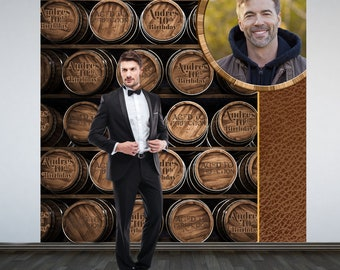 Aged to Perfection Party Personalized Photo Backdrop, Whiskey Barrels Photo Backdrop- 50th Birthday Photo Backdrop -Whiskey Backdrop