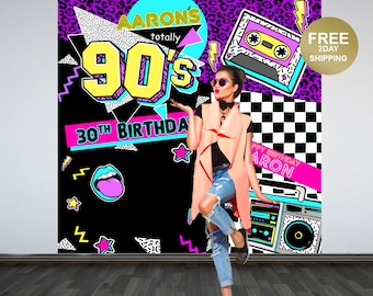 Back to the 90's Party Personalized Photo Backdrop   90s Photo Backdrop   Birthday Photo Backdrop - Birthday Backdrop   Printed Backdrop