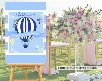 Up up and Away Welcome Sign - Welcome to the Party Sign, Hot Air Balloons Blue Welcome Sign, Foam Board Welcome Sign, Printed Welcome Sign