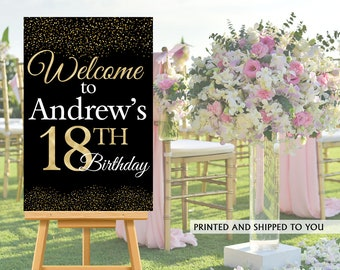 18th Birthday Party Welcome Sign, Welcome to the Party Sign, Birthday Welcome Sign, Foam Board Welcome Sign, Gold Sparkle Printed Sign