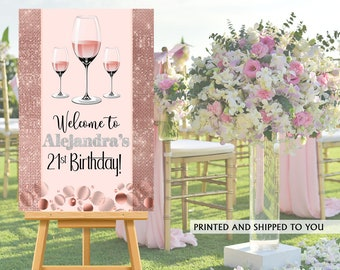 21st Birthday Welcome Sign - Rose All Day Sign in Board, Welcome to the Party Sign, Foam Board Printed Welcome Sign, Party Welcome Sign