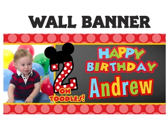 Little Mouse Birthday Banner ~ Personalized Happy Birthday Party Banners- Polka Mouse Banner, 1st Birthday Banner, 2nd Birthday Banner