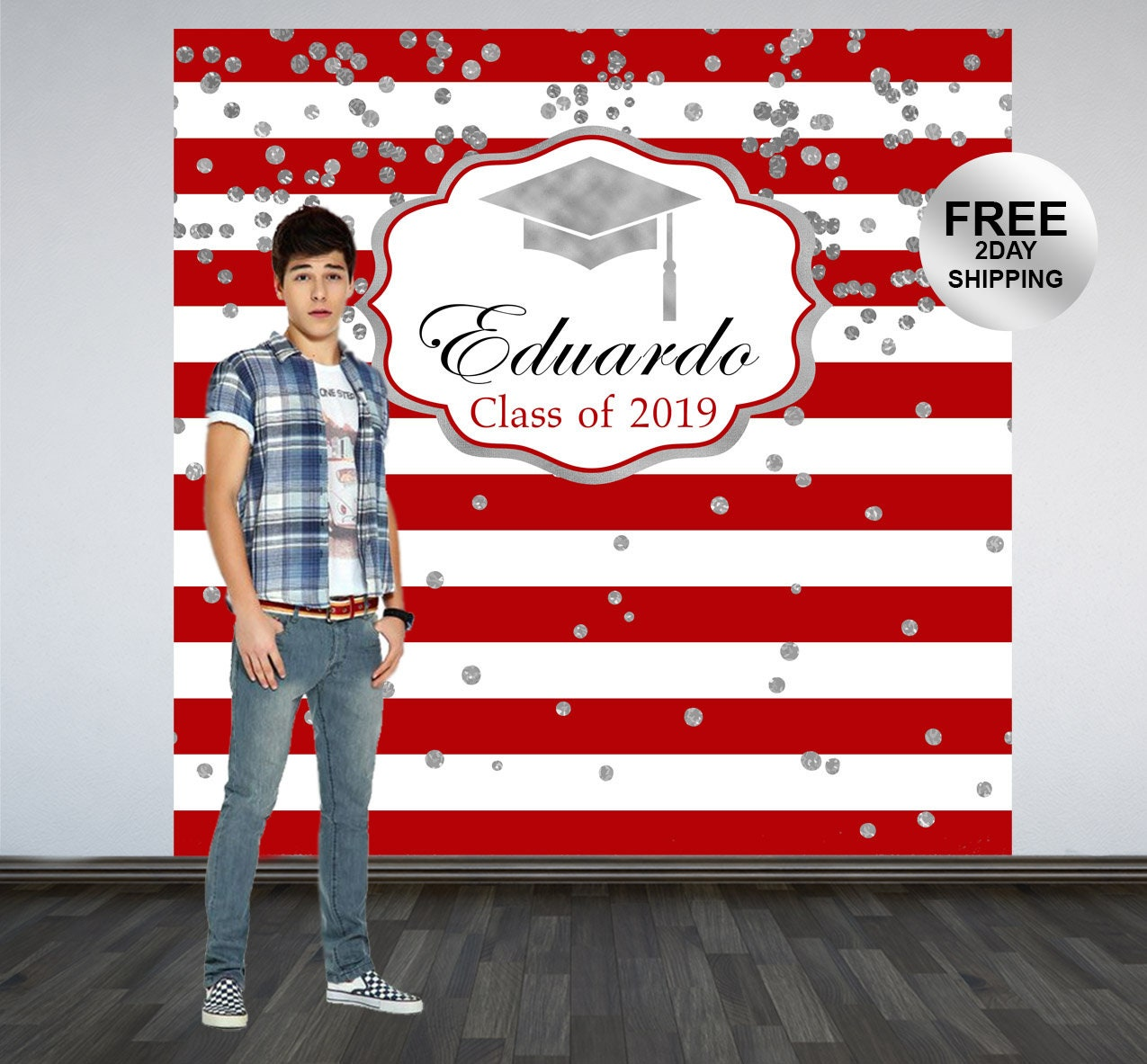 8a4fd04620 Graduation Photo Backdrop | Red and White Stripes Photo Backdrop ...