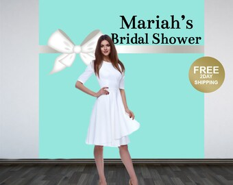 Bridal Shower Personalized Photo Backdrop | Baby Shower Backdrop | Aqua and White Bow Photo Backdrop | Custom Backdrop | Birthday Backdrop