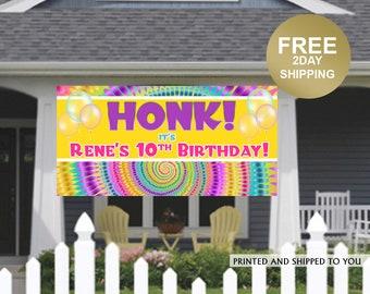 Birthday Yard Banner | Tie Dye Birthday Banner | 13th Birthday Banner | HONK Birthday Banner | Quarantine Birthday Banner, Lawn Banner
