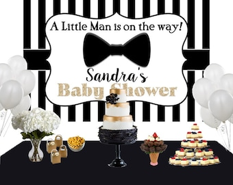 Little Man Personalized Backdrop, Baby Shower Cake Table Backdrop, Bow Tie Backdrop, Little Gentleman Backdrop, Black and White Stripes
