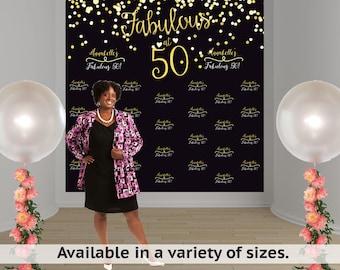 Fabulous 50 Birthday Personalized Photo Backdrop, 50th Birthday Photo Backdrop, Step and Repeat Photo Backdrop, Vinyl Custom Backdrop