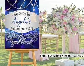 Masquerade Party Welcome Sign - Welcome to the Party Sign, Blue and Silver Party Welcome Sign, Foam Board Welcome Sign, Printed Welcome Sign