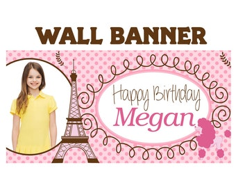 Paris Poodle Party Banner ~ Personalized Party Banners Indoor or Outdoor Photo Girls Banner, Eiffel tower Banner, Printed Vinyl Banner