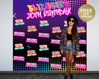 90's House Party Personalized Photo Backdrop   30th Birthday Photo Backdrop   Birthday Photo Backdrop   Hip Hop Step and Repeat Backdrop
