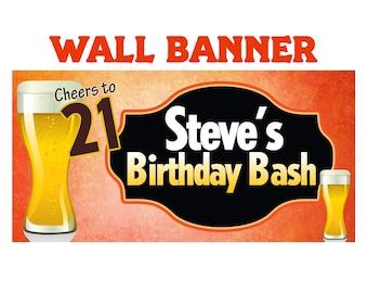 Cheers to 21 Beer Happy Birthday Banner  ~ Happy 21st Birthday Personalized Party Banners, 21st Birthday Banner, Printed Custom Banner